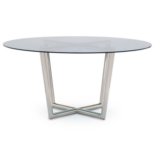 modern-dining-table-stainless-blue-glass-front-mitchell-gold-bob-williams